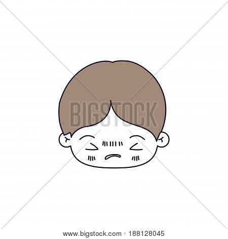 silhouette color sections of facial expression bored kawaii little boy with hair light brown vector illustration