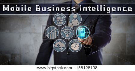 Blue chip data manager is activating a smart phone in a Mobile Business Intelligence control matrix. Technology concept for real-time information remote device management network security.