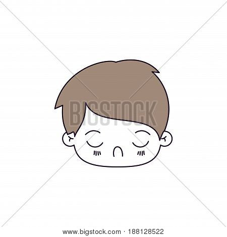 silhouette color sections of facial expression tired kawaii little boy with hair light brown vector illustration