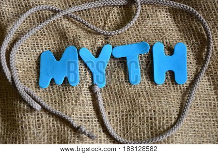 word myth on an   abstract colorful background