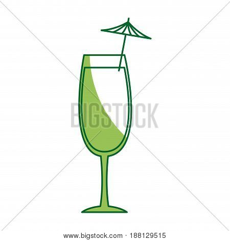alcohol drink icon. cold cocktail with umbrella in glass. vector illustration
