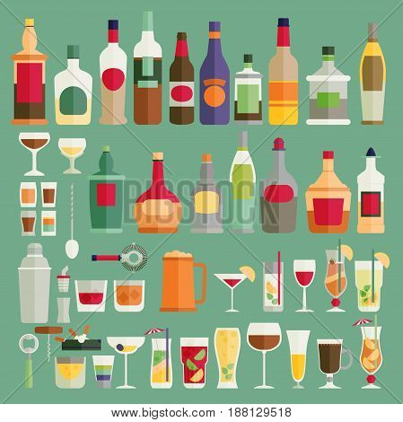 Drinks and beverages icon set. Flat vector illustration.