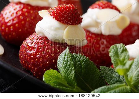 Delicious Ripe Strawberry Stuffed With Whipped Cream And Almond Macro. Horizontal