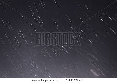 Stars movement over the sky captured with slow shutter speed.