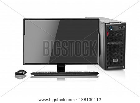 Modern desktop PC. Desktop computer isolated on a white background.