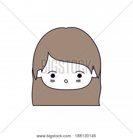 silhouette color sections of facial expression surprised kawaii little girl with straight hair in light brown vector illustration