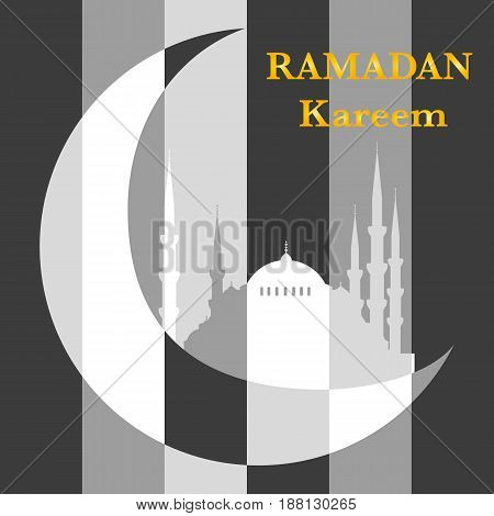 Ramadan kareem background. Mosque wih crescent moon in a flat style