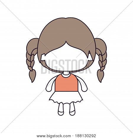 silhouette color sections of faceless little girl with braided hair in light brown vector illustration
