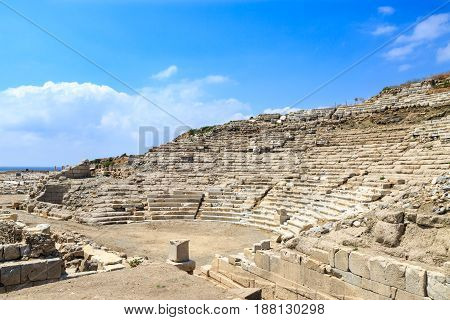 Amphitheater ruins in knidos in Datca Turkey