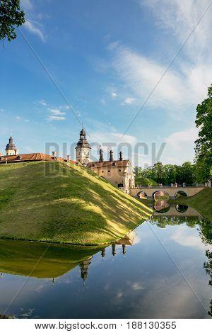 Nesvizh, Belarus - May 20, 2017: Medieval Castle In Nesvizh, Minsk Region, Belarus.