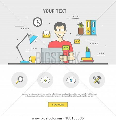 Conceptual banner human in workplace on computer communicates. Man in glasses is sitting at table of device. Line flat design symbols and icons for web, printing. Vector illustration