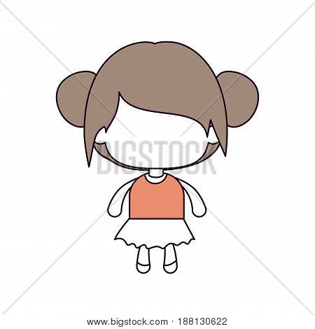 silhouette color sections of faceless little girl with collected bun hair in light brown vector illustration