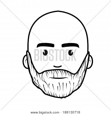 line nice face man with beard and bald, vector illustration