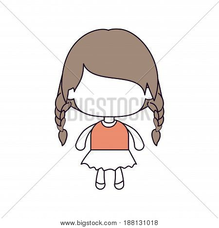 silhouette color sections of faceless little girl with braided hair medium height in light brown vector illustration