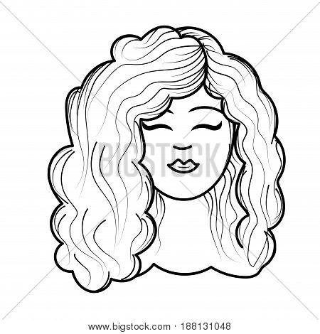 line cute woman face with hairstyle, vector illustration