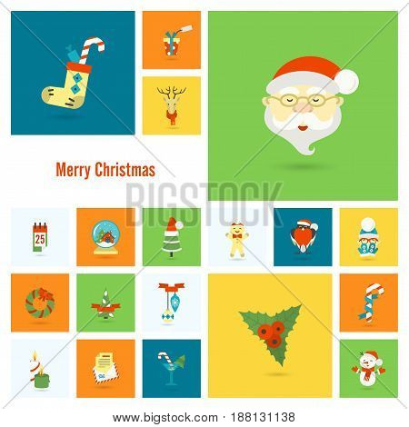 Christmas and Winter Icons Collection. Colorful. Simple and Minimalistic Style. Vector