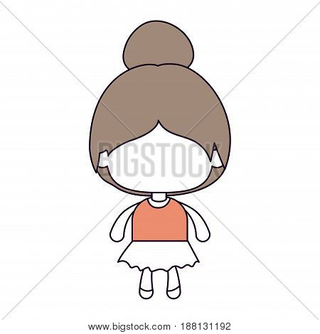 silhouette color sections of faceless little girl with collected hair in light brown vector illustration