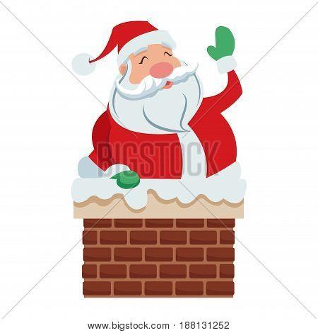 cute cartoon santa claus in chimney vector illustration