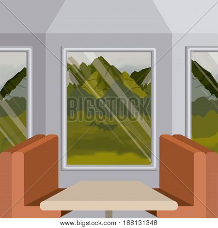 colorful background interior train with a passenger compartment and landscape scenary outside vector illustration
