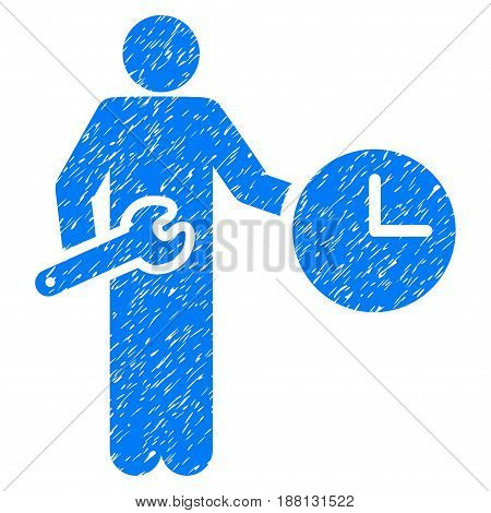 Grunge Clock Serviceman icon with grunge design and dust texture. Unclean vector blue pictogram for rubber seal stamp imitations and watermarks. Draft emblem symbol.