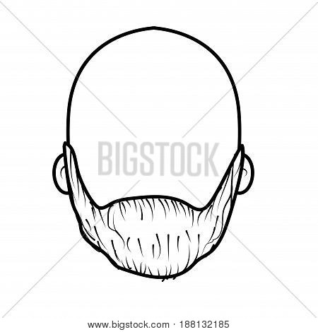 line nice man face with beard and bald, vector illustration