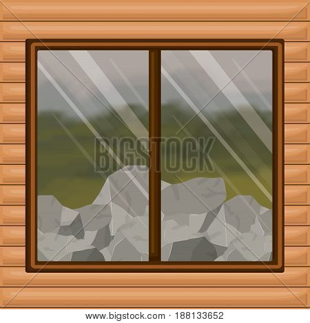 colorful background interior wooden cabin with forest and rocks scenary behind window vector illustration