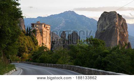 Road Meteora Rock Landcape Greece