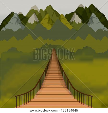 colorful background outside suspension bridge and forest scenary vector illustration