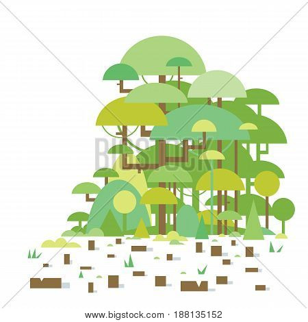 Tropical trees with many stumps, deforestation of tropical rainforests, ecological disaster, nature disaster concept illustration, sample geometric shapes, isolated