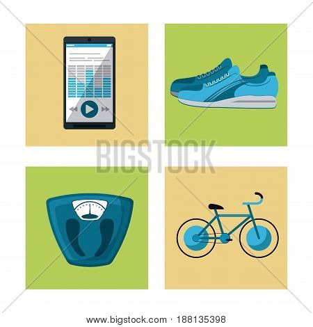 multicolored square buttons set of elements cardio exercises vector illustration