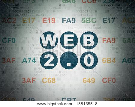 Web design concept: Painted blue text Web 2.0 on Digital Data Paper background with Hexadecimal Code