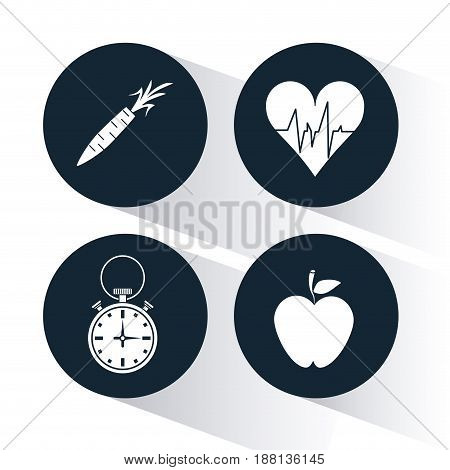 dark blue circular frame with silhouette set of chronometer and elements for health vector illustration