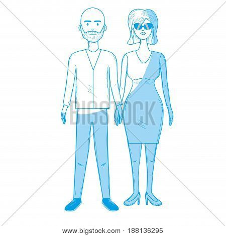 silhouette nice couple with hairstyle and elegant wear, vector illustration