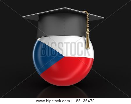 3D Illustration. Graduation cap and Czech flag. Image with clipping path