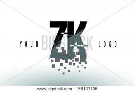 Zk Z K Pixel Letter Logo With Digital Shattered Black Squares