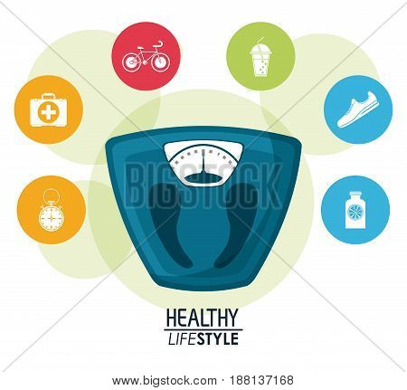 white background with bubbles and bathroom weight scale with icons elements sport healthy lifestyle vector illustration