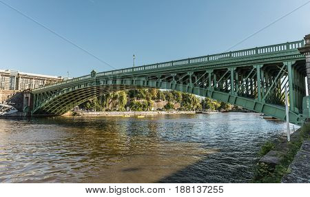 Bridge of the Motte Rouge over the Erdre river in Nantes (France)