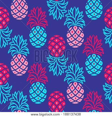 Pineapple blue and pink bright seamless vector pattern. Ananas seamless surface texture design for apparel, fabric and paper print.