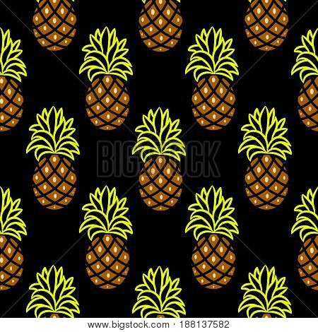 Pineapple green and brown dark seamless vector pattern. Ananas seamless surface texture design for apparel, fabric and paper print.