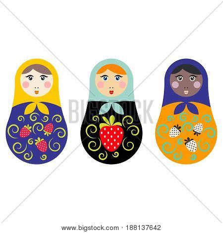Russian nesting doll set vector illustration. Matryoshka toy souvenir isolated on white.