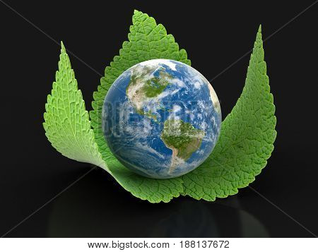 3D Illustration. 3d Globe on leaves. Image with clipping path