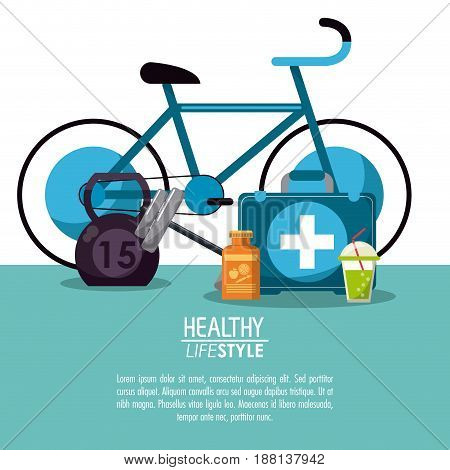 white background with elements sport healthy lifestyle vector illustration