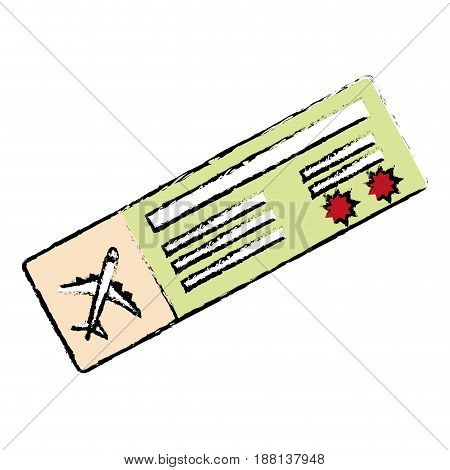 airplane ticket icon over white background. vector illlustration