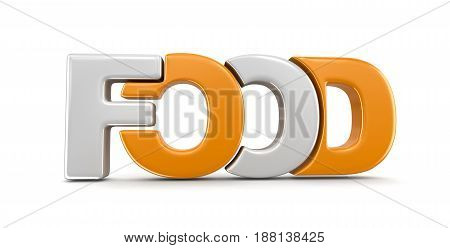 3D Illustration. Food text. Image with clipping path