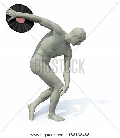 Discobolus With Vinyl Disk Launching