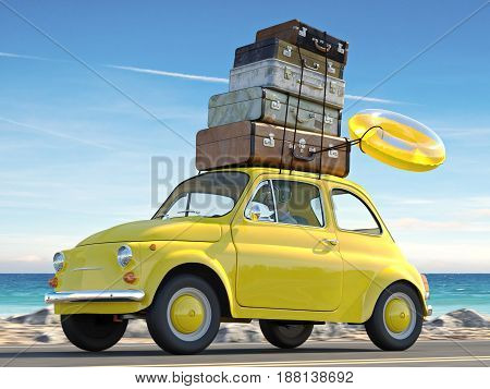 woman rush in a car with baggage on roof. 3d rendering