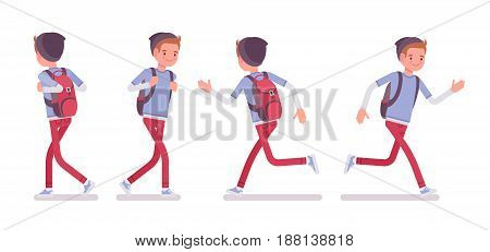 Teenager boy wearing cute beanie and urban messenger rucksack, casual slim fit dressing, walking and running pose, front, rear view, vector flat style cartoon illustration, isolated, white background