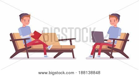 Teenager boy wearing cute beanie and urban casual slim fit dressing, sitting pose, front, resting at the sofa, working with laptop, vector flat style cartoon illustration, isolated, white background