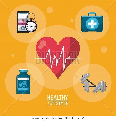 yellow color background with bubbles and heartbeat rhythm with elements sport healthy lifestyle vector illustration