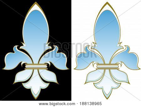 Elegant French heraldic lily on a black and white background